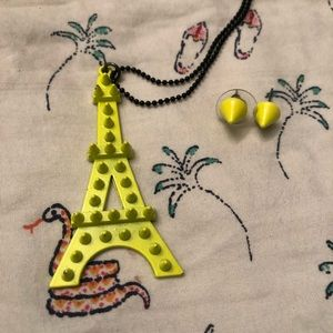 Studded Eiffel Tower necklace and studded earrings